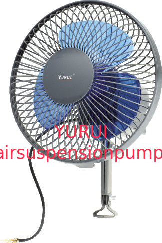 "Metal Black And Blue Car Cooling Fan / Auto Cool Fan 6"" Oscillating"